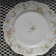 "Haviland Limoges The Princess Salad Plate Pink Roses/Blue Ribbons 8 1/2"""