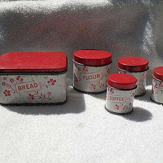 Antique Dolls Tin Kitchen Miniature 5 Piece Canister Set