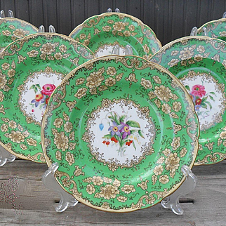"""Six Wedgwood Botanical Green Artist Signed Floral 9"""" Plates W2006 1930's"""