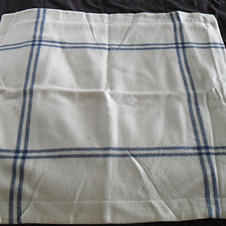 Ralph Lauren Pair of Wool Euro Shams Denim Blue on Off White