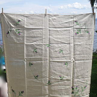 Vintage Embroidered Thistle on Yellow Card Table Cloth and Napkins