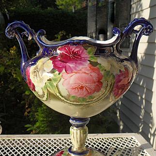 Footed Royal Nippon Cobalt Pink Rose Jardiniere Planter Vase
