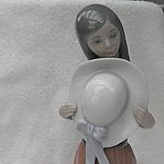 Lladro Bashful Girl with Hat Figurine #5007
