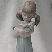 Lladro Don't Forget Me Figurine Girl Pigtails Kitten Cat #5743 Original Box