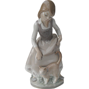 Lladro Little Girl with Cat 1972 1187 Original Box