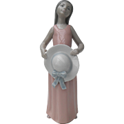 Lladro The Dreamer Girl with Hat Figurine #5008 Original Box