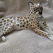 Antique Nymphenburg Recumbent Leopard Porcelain Figurine Statue