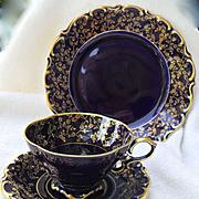 Lindner Bavaria Germany Eicht Cobalt Blue and Gilt Teacup Saucer and Plate Trio