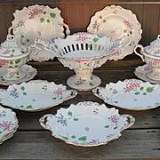 Exquisite Antique Rockingham England Porcelain 17 Piece Dessert Service Piece 1840