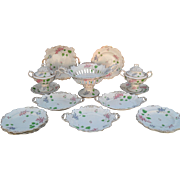 Exquisite Antique Rockingham England Porcelain 17 Piece Dessert Service Piece 1840