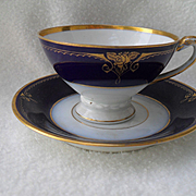 Elegant Schlaggenwald Cobalt Blue and Gold Demitasse Cup and Saucer