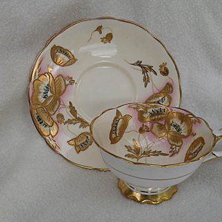 Stunning Gold Encrusted Poppies Pink Royal Stafford Teacup and Saucer