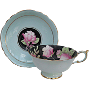 Stunning Paragon DW Deep Pink Roses on Black with Blue Teacup and Saucer
