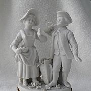 Diminutive Antique Bisque Volkstedt Germany Man Woman Basket Flowers Figurine