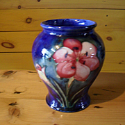 William Moorcroft Freesia on Cobalt Pottery Vase 1930's Her Majesty's Potter