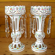 Elegant Moser Pair of Glass Cut to Clear White on White Mantel Lustres