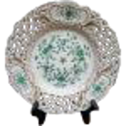 Meissen Handpainted Green and Gold Floral Reticulated Pierced Plate 8 1/4""