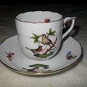Classic Herend Rothschild Birds Demitasse Chocolate Cup and Saucer 709/RO