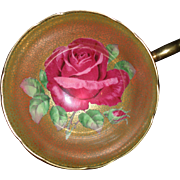 Rare Paragon Red Cabbage Rose and Gilt Gold on Black Teacup and Saucer