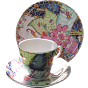 Mottahedeh Tobacco Leaf Teacup and Saucer Plate Trio