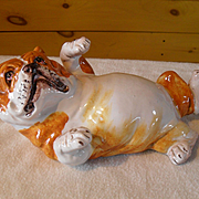 Vintage Italian Pottery Brown and White Bulldog Submissive