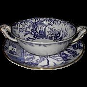 Royal Crown Derby Blue Mikado Cream Soup Bowl