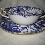Royal Crown Derby Blue Mikado Cream Soup Bowl 1951