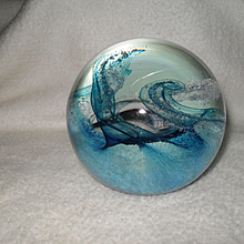 Caithness Scotland Splashdown Blue and White Glass Paperweight