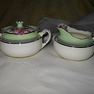 Vintage Paragon DW Queen Mary Pink Rose Creamer and Sugar