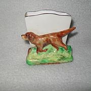 Vintage Crown Staffordshire Pointer Hound Dog Match Holder