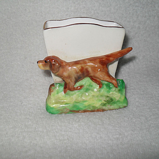 Vintage Crown Staffordshire Pointer Hound Dog Match Holder
