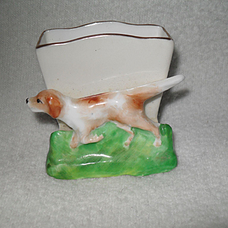 Vintage Crown Staffordshire Retriever Hound Dog Match Holder