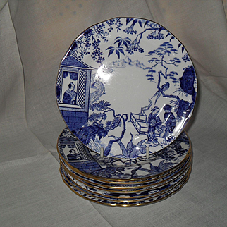 Eight Royal Crown Derby Blue Mikado Bread Tea Plate 6 1/4""