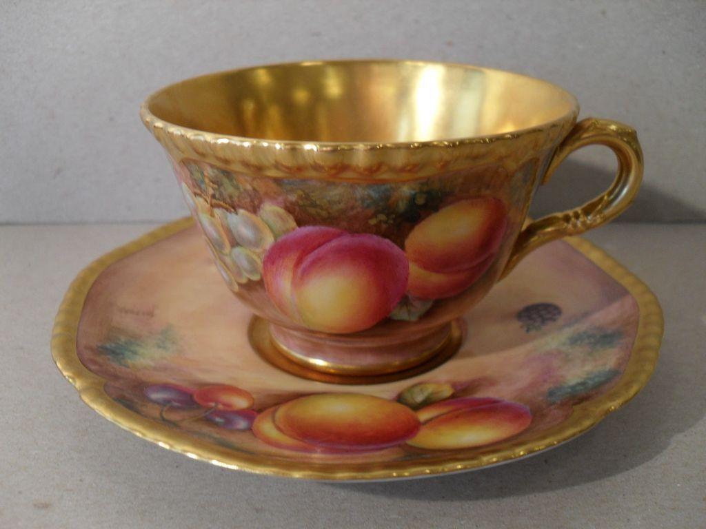 Royal Worcester Fruit Study Gold Teacup/Saucer Telford : MissSmithVT ...