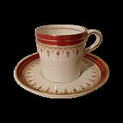 Vintage Aynsley Red Demitasse Espresso Cup and Saucer