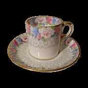 Crown Staffordshire Demitasse Espresso Pinks Cup/Saucer