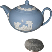 Miniature Light Blue Jasperware Wedgwood Teapot
