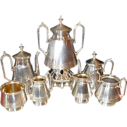 Aesthetic Era Wilcox Quad Silverplate 7pc Teaset Birds/Urn