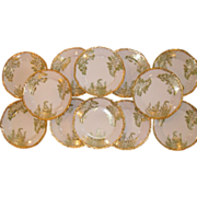 Antique T & V Limoges Gold Set 12 Sea Fern Plates