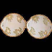 Antique T & V Limoges Gold Pair Sea Fern Plates
