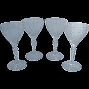 Delicate Vintage Floral Etched Crystal Fluted Claret Glass 4