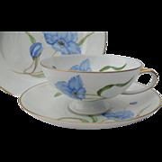 Rosenthal Porcelain Blue Poppy Gold Teacup and Saucer
