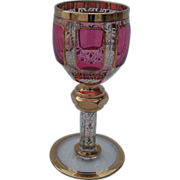 Moser Cranberry Ruby Gold Cordial Panelled Wine Glass