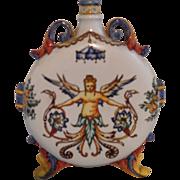 Rare Gien Faience Daedalus/Icarus Phoenix Flask