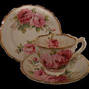 Royal Albert American Beauty Pink Roses Teacup Trio