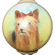 Ashley Yorkshire Terrier Yorkie Portrait Enamel Pill Box