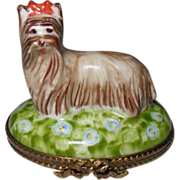 Sweet Limoges France HP Yorkshire Terrier Pill Box
