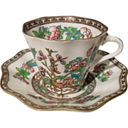 Coalport Indian Tree Multicolored Scalloped Cup/Saucer