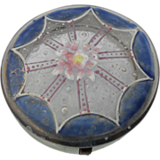 Victorian Glass Enamel Blue Patch or Pill Box