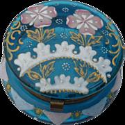 Victorian Glass Patch Box Vivid Aqua Blue Pink Flowers
